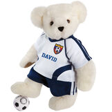 "15"" Soccer Bear - Three quarter view of standing jointed bear dressed in a blue and white jersey with VTB logo, blue shorts and comes with black and white soccer ball. Shirt is personalized with ""Emily"" on the front - Vanilla white fur image number 2"