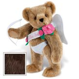 """15"""" Cupid Bear - Three quarter view of standing jointed bear dressed in white diaper, white sash with pink flowers and holding a cupid bow. Sash says """"I Love You"""" - Espresso brown fur image number 5"""