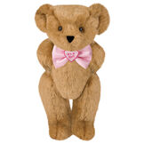 "15"" ""It's a Girl!"" Bow Tie Bear - Standing jointed bear dressed in light pink satin bow tie with ""It's a Girl!"" is embroidered on heart center - Honey brown fur image number 0"