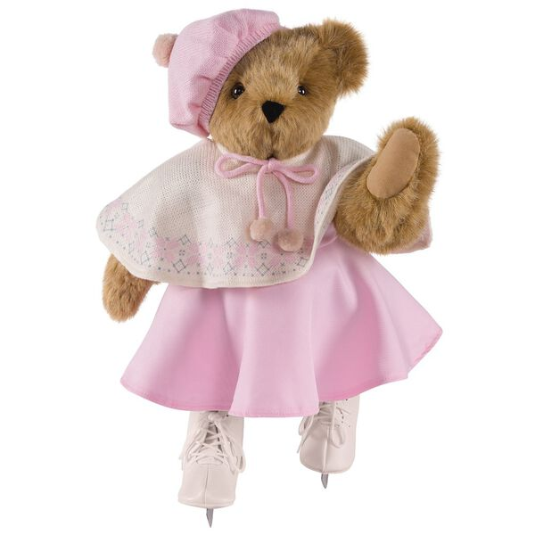 "15"" Bianca Bear - Front view - Standing Jointed Bear in Honey Fur dressed in ivory cape with snowflake design, pink skirt and hat and white ice skates.  image number 2"