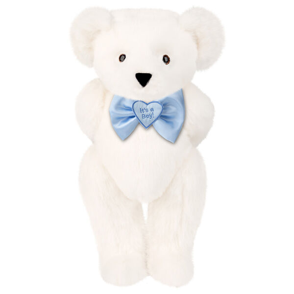 "15"" ""It's a Boy!"" Bow Tie Bear - Standing jointed bear dressed in light blue satin bow tie with ""It's a Boy!"" is embroidered on heart center - Vanilla White fur image number 2"