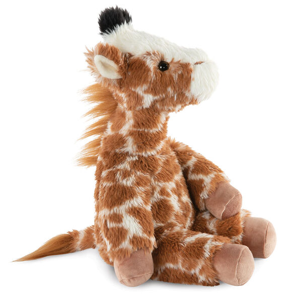 "18"" Oh So Soft Giraffe - Side view of seated brown and tan patterned Giraffe with ginger brown mane and tail, beige hooves, cream muzzle and black tipped horns  image number 5"
