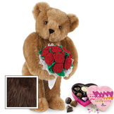 """15"""" Red Rose Bouquet Bear and Chocolates - Front view of standing jointed bear holding a large red bouquet wrapped in white satin and lace  and 6 pc. heart box of chocolates - Espresso image number 8"""