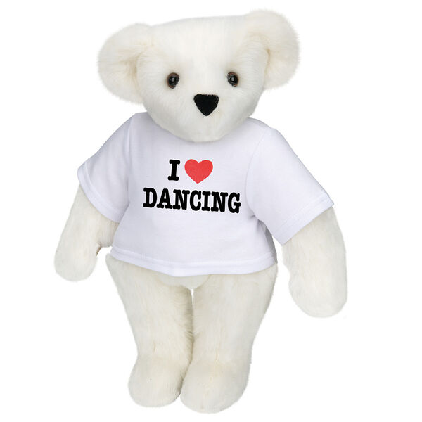 "15"" ""I HEART You"" Personalized T-Shirt Bear - Standing Jointed Bear in white t-shirt that says I ""Heart"" You in black and red lettering - Vanilla white fur image number 1"