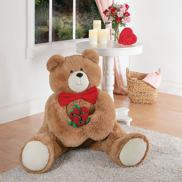 4' Big Hunka Love® Bear with Bow Tie and Roses image number 1
