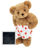 """15"""" Heart Throb Bear - Three quarter view of standing jointed bear dressed in white satin boxers with red hearts - Black fur image number 3"""