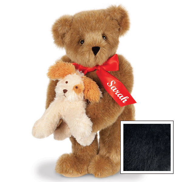 """15"""" Puppy Love Bear - 15"""" Standing Bear wearing a red satin bow and comes with plush puppy. Bow is personalized with """"Sarah"""" on the left tail - Black image number 6"""