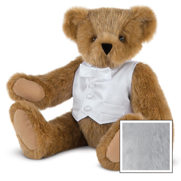 """15"""" Special Occasion Boy Bear - Three quarter view of seated jointed bear dressed in a white satin vest and shirt front with bowtie - Gray image number 4"""