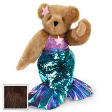 """15"""" Mermaid Bear - Three quarter view of standing jointed bear dressed in a blue sequin tail and purple top with shell embroidery an pink starfish applique and earpiece - espresso brown fur image number 9"""