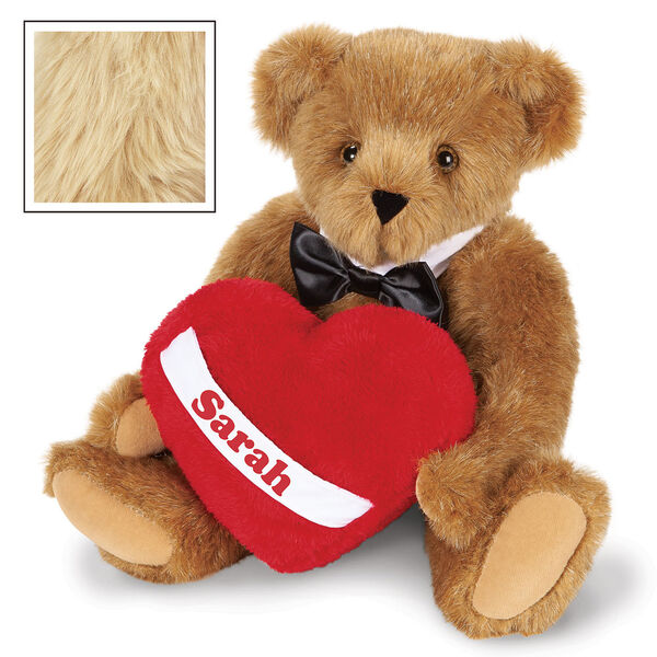 """15"""" Romantic at Heart Bear - Seated jointed bear with tuxedo collar and plush heart pillow, which is personalized with """"Sarah"""" - Maple image number 8"""