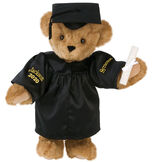 """15"""" Graduation Bear in Black Gown - Front view of standing jointed bear dressed in black satin graduation gown and cap and holding a rolled up diplomapersonalized """"Jackson 2020"""" on right sleeve and """"Syracuse"""" on left in gold - Honey brown fur image number 0"""