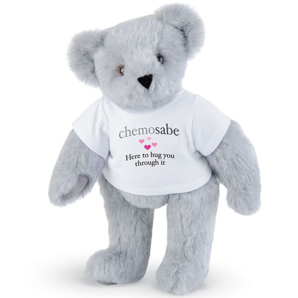 "15"" Chemosabe T-Shirt Bear - Standing jointed bear dressed in white t-shirt with gray and pink graphic with hearts that says, ""chemosabe, Here to hug you through it"" - Gray fur image number 4"