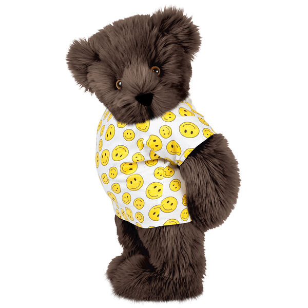 """15"""" Get Well Bear - Three quarter view of standing jointed bear dressed in a white johnny with yellow happy faces - Espresso brown fur image number 6"""