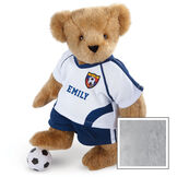 """15"""" Soccer Bear - Three quarter view of standing jointed bear dressed in a blue and white jersey with VTB logo, blue shorts and comes with black and white soccer ball. Shirt is personalized with """"Emily"""" on the front - Gray image number 4"""