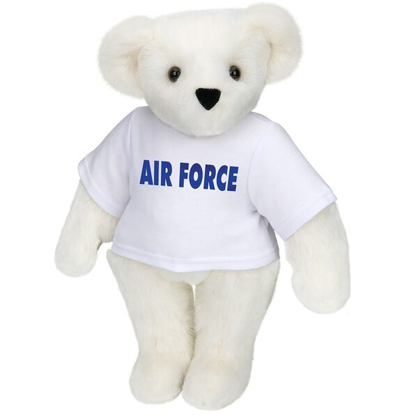 "15"" Air Force T-Shirt Bear - Standing jointed bear dressed in a white t-shirt says, ""AIR FORCE"" in royal blue lettering on the front of the shirt - Vanilla white fur image number 2"