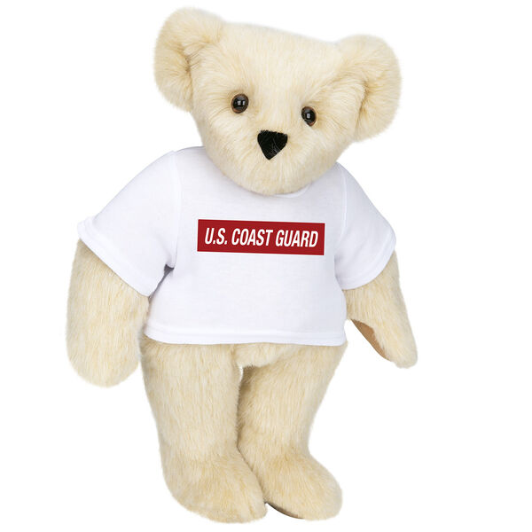 """15"""" Coast Guard T-Shirt Bear - Front view of standing jointed bear dressed in white t-shirt with dark red graphic that says, """"U.S. COAST GUARD"""" - Buttercream brown fur image number 1"""