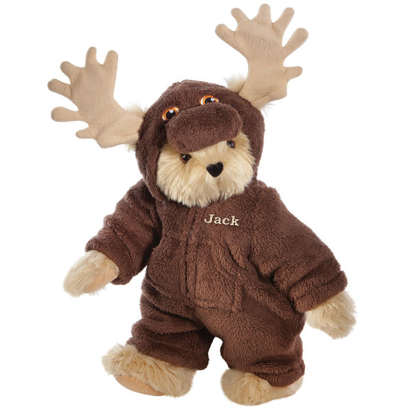 """15"""" Moose Bear - Front view of standing jointed bear dressed in a brown hoodie footie with tan antlers personalized with """"Jack"""" on left chest in gold lettering - Maple brown fur image number 6"""