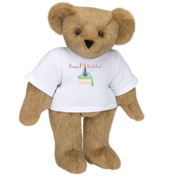 """15"""" 1st Birthday T-Shirt Bear- Vanilla Cake - Standing jointed bear dressed in a white t-shirt with a slice of vanilla cake artwork that says, """"Happy 1st Birthday!"""" on the front of the shirt - Honey brown fur image number 0"""