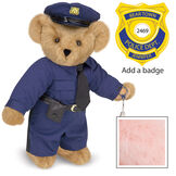 """15"""" Police Officer Bear - Three quarter view of standing jointed bear dressed in a navy blue police uniform with shirt, pants, black tie and hat and holding handcuffs. Personalize with a Police badge - Pink image number 5"""