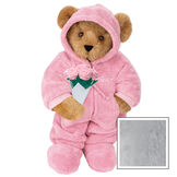"""15"""" Hoodie Footie Bear with Roses - Front view of standing jointed bear dressed in pink hoodie footie and holding pink bouquet of roses personalized with """"Emily"""" in white on left chest - Gray image number 4"""