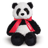 "18"" Oh So Soft Panda Bear - Front view of seated black and white 18"" Panda Bear with tail wearing a red satin bow with tails personalized with ""Cassie"" in white lettering image number 2"