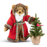 """15"""" Limited Edition Woodland Santa Bear - Standing  jointed bear with green eyes dressed in red velvet hooded coat with trim, brown pants, green shirt, white beard and glasses. Holding a Christmas tree with cardinal in branches  - Honey brown fur image number 1"""