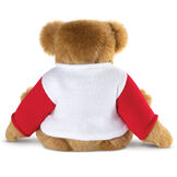 "15"" Maple Leaf Sweater Bear - Back view of seated jointed bear dressed in white knit sweater with red sleeves - Honey brown fur image number 3"