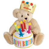 "15"" Happy Birthday Bear - Front view of seated jointed bear dressed in a gold crown with appliqued jewels holding a birthday cake with candles that says ""Happy Birthday"". Crown is personalized with ""Michael"" in red lettering - Buttercream brown fur image number 1"