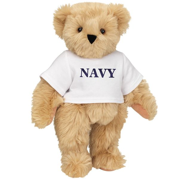 """15"""" Navy T-Shirt Bear - Front view of standing jointed bear dressed in white t-shirt with navy blue graphic that says, """"Navy"""" - Maple brown fur image number 4"""