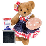 """15"""" Mom for President - Front view of standing jointed bear in a red, white and blue stars and stripes dress with matching head bow, with a """"Mom for President"""" pin holding an apple pie and a voting ballot - Black fur image number 3"""