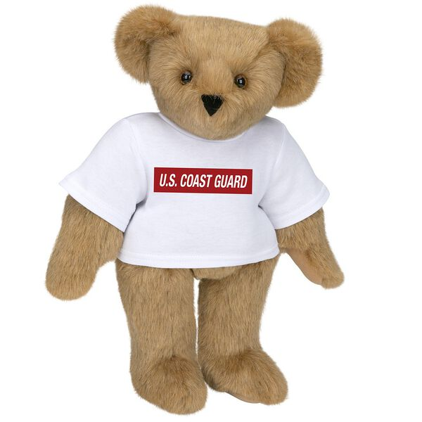 """15"""" Coast Guard T-Shirt Bear - Front view of standing jointed bear dressed in white t-shirt with dark red graphic that says, """"U.S. COAST GUARD"""" - Honey brown fur image number 0"""