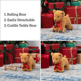 "12"" Rolling Bear Toy - 3 images of golden bear with red satin ribbon: one on wooden detachable wheel frame with pull cord. One with bear and wheel frame side by side and one with bear along. Text in a fourth box reads, ""1. Rolling Bear, 2. Easily Detachable, 3. Cuddle Teddy Bear"" image number 5"