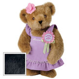 """15"""" Simply the Best Bear - Front view of standing jointed bear dressed in a lilac sundress with felt flower pin that says """"Simply the Best"""" in pink and pink flower on ear. Dress is personalized with """"Anna"""" in cream on front - Black fur image number 3"""