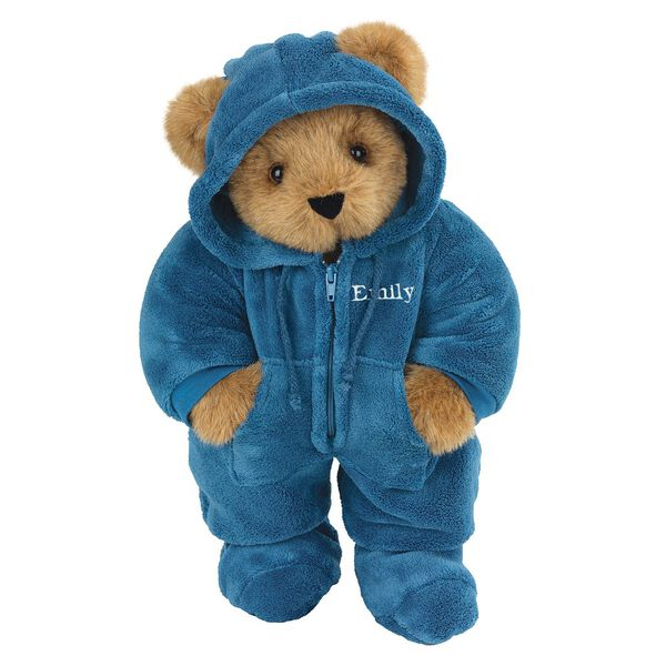 "15"" Hoodie-Footie Bear Blue - Front view of standing jointed bear dressed in blue hoodie footie personalized with ""Emily"" in white on left chest - Honey brown fur image number 0"