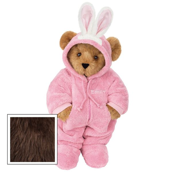 """15"""" Hoodie-Footie Bunny Bear - Front view of standing jointed bear dressed in pink hoodie footie and bunny ears personalized with """"Emily"""" in white on left chest - Espresso brown fur image number 8"""