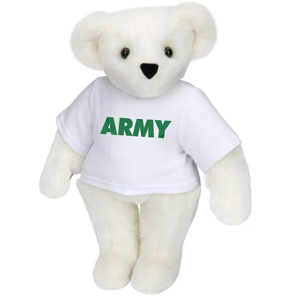 "15"" Army T-Shirt Bear - Standing jointed bear dressed in a white t-shirt says, ""ARMY"" in green lettering on the front of the shirt - Vanilla white fur image number 2"