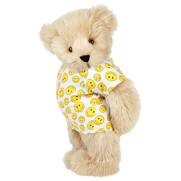 "15"" Get Well Bear - Three quarter view of standing jointed bear dressed in a white johnny with yellow happy faces - Maple brown fur image number 6"