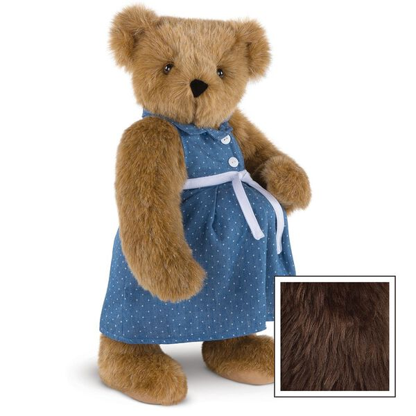 """15"""" Cub in the Oven - Three quarter view of standing pregnant jointed bear dressed in a blue dress with white dots and white belt.  - Espresso brown fur image number 10"""