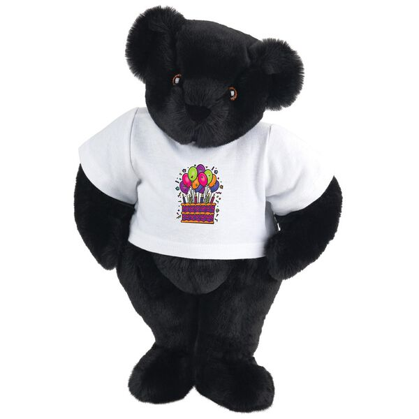 """15"""" Birthday T-Shirt Bear - Standing jointed bear dressed in white t-shirt with colorful birthday cake and balloons - Black fur image number 3"""