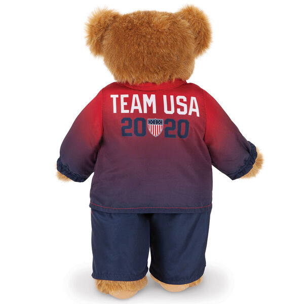 "15"" Team USA Olympic Bear - Back View of red and blue track suit with Team USA 2020 and the Olympic Shield on the jacket image number 4"
