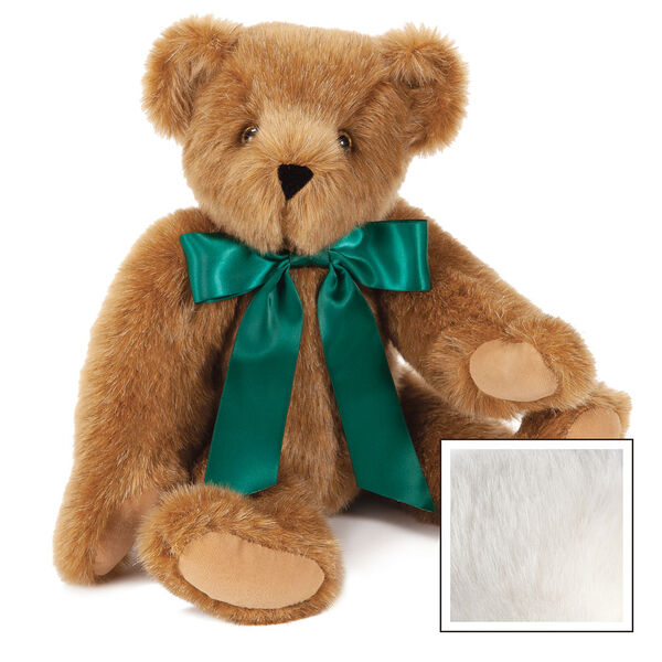 "15"" Green Ribbon Bow Bear  - Front view of seatedjointed bear dressed in a green satin bow with tails - Vanilla white fur image number 3"