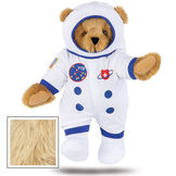 """15"""" Astronaut Bear - Standing jointed bear dressed in white space suit, boots and helmet with blue trim, embroidered patches and American flag - Maple brown fur image number 8"""