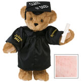 """15"""" Graduation Bear in Black Gown - Front view of standing jointed bear dressed in black satin graduation gown and cap and holding a rolled up diploma personalized """"Jackson 2021"""" on right sleeve and """"Syracuse"""" on left in gold - Pink image number 4"""
