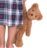 """15"""" Buddy Bear - Front view of Slim seated honey brown bear with brown eyes being held by right arm of a young girl and a nightgown. image number 0"""