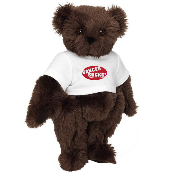 """15"""" Cancer Sucks T-Shirt Bear - Standing jointed bear dressed in white t-shirt with red graphic that says, """"Cancer Sucks!"""" - Espresso brown fur image number 6"""