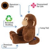 "18"" Oh So Soft Monkey - Side view of seated 18"" cinnamon brown monkey with tail and tan ears, muzzle and foot pads text reads ""Signature Eyes; Guaranteed For Life; Long Tail; Premium Fur; Recycled Stuffing"".  image number 1"