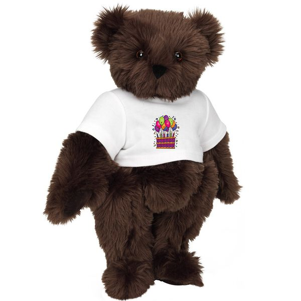 """15"""" Birthday T-Shirt Bear - Standing jointed bear dressed in white t-shirt with colorful birthday cake and balloons - Espresso brown fur image number 7"""