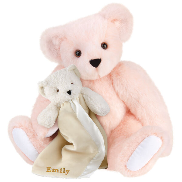 "15"" Cuddle Buddies Gift Set - Front view of seated jointed bear with ivory bear blanket with stroller strap personalized with ""Emily"" in gold lettering on corner of blanket - Pink fur image number 4"