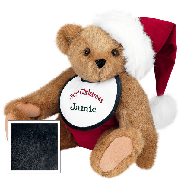 "15"" Baby's First Christmas Bear - Seated jointed bear dressed in red velvet diaper with santa hat and white and green bib that says ' First Christmas' in red lettering. Bib is personalized with ""Jamie"" in dark green lettering - Black fur image number 3"