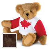 """15"""" Maple Leaf Sweater Bear - Three quarter view of seated jointed bear dressed in white knit sweater with red maple leaf on front and red sleeves  - Espresso image number 9"""